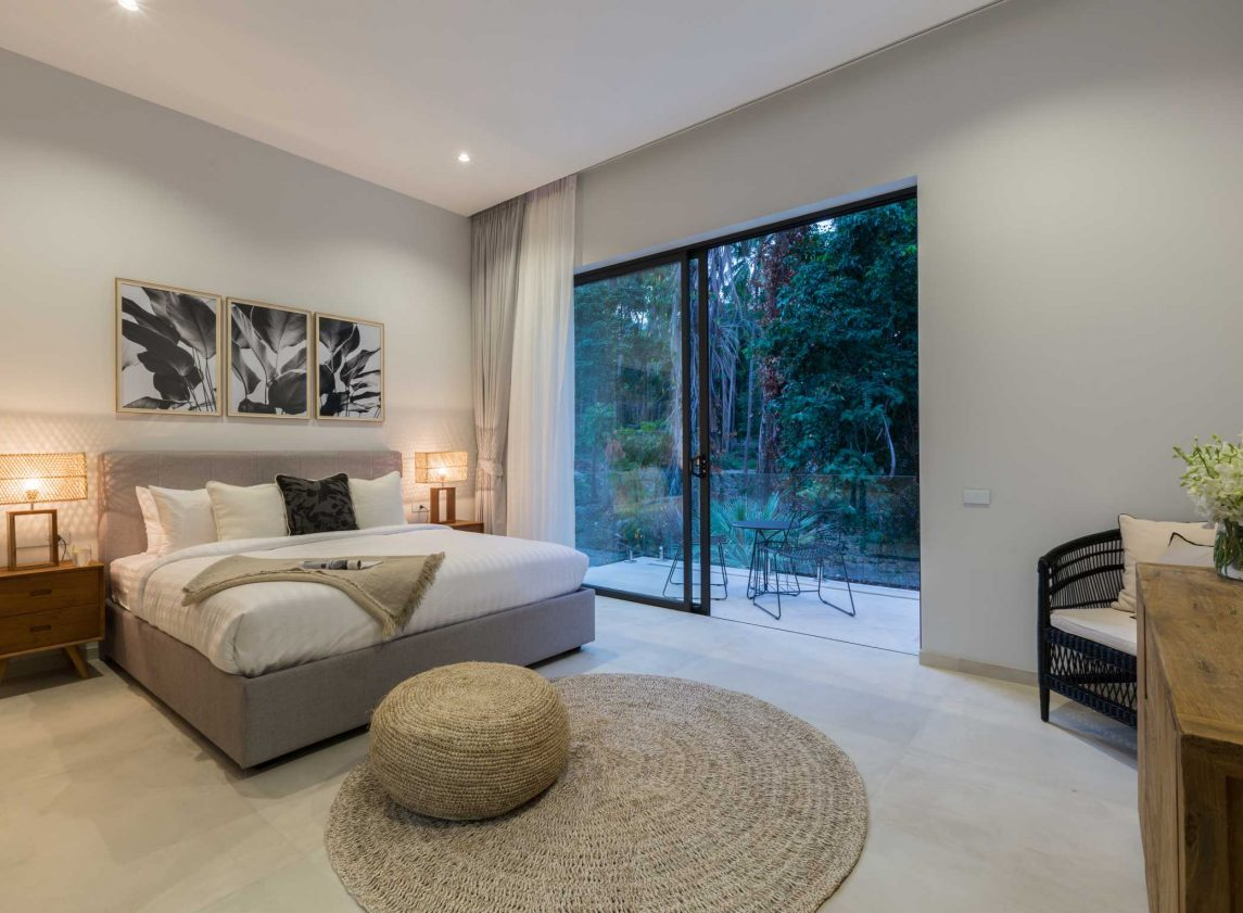 Bedroom at Vova Village, a luxury and private estate of 3 bedroom pool villas located in Chaweng, Koh Samui, Thailand