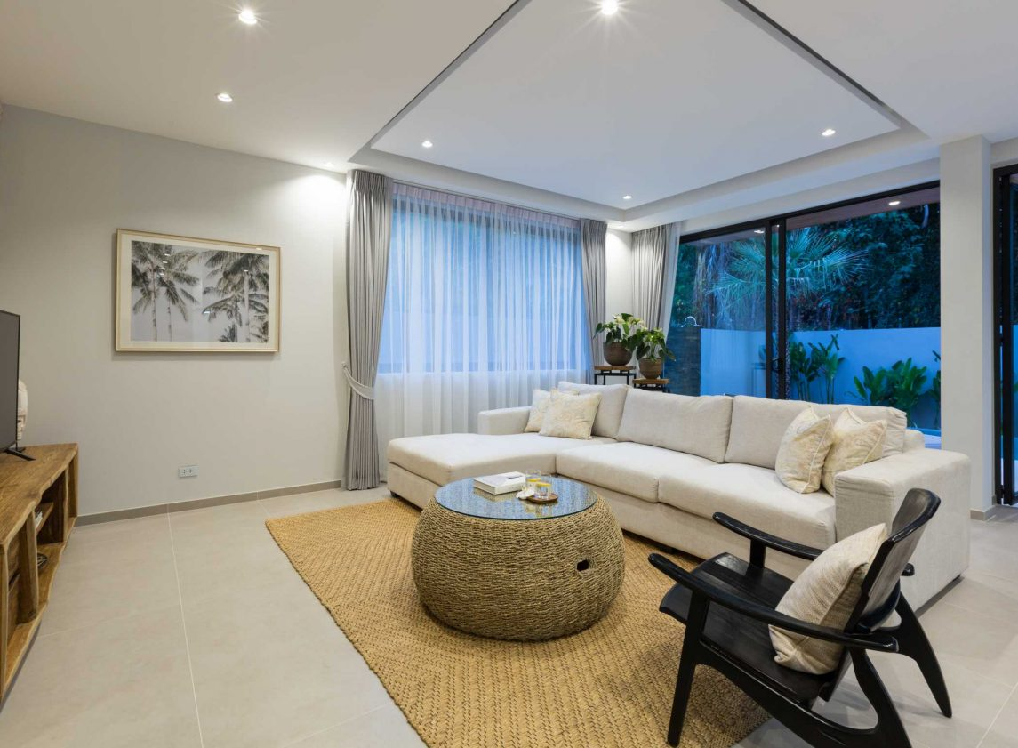 Living room at Vova Village, a luxury and private estate of 3 bedroom pool villas located in Chaweng, Koh Samui, Thailand